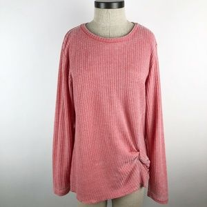 Stitch Star Coral Textured Knit Long Sleeve Top